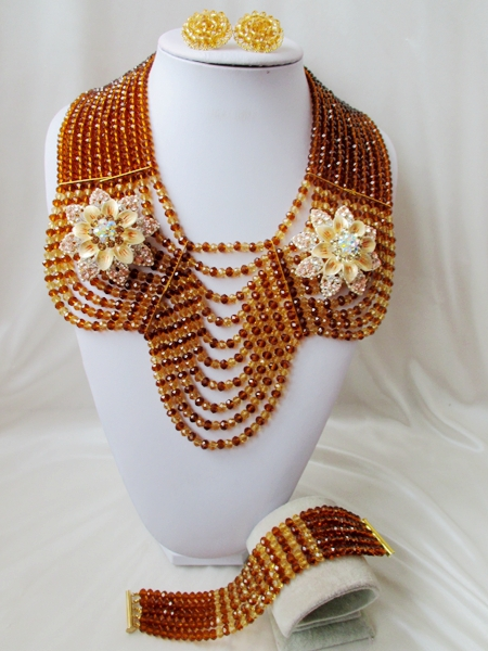 Special offer Crystal Necklaces Bracelet Earrings African Nigerian Wedding Beads Jewelry Set NEW A-11738<br><br>Aliexpress