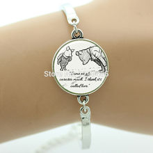 Inspirational quote 'Some people care too much I think it's called love' Bracelet classic pooh Leisure series essential B320(China (Mainland))