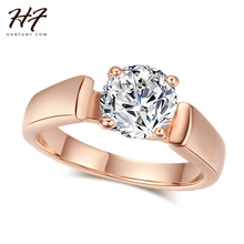 Buy Round Cut Cubic Zirconia Engagement Rings 4 Prongs Rose Gold Color Crystal Fashion Wedding Jewelry Man Women Anel R054 for $1.42 in AliExpress store