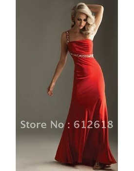 2014 Red One Shoulder Beading Cut Out Back A-line Chiffon Long Evening/Prom Dresses