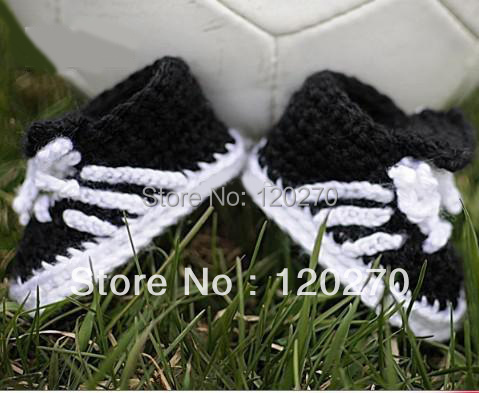 Baby Boys Crochet Football Shoes Newborn Toddlers Knitted Prewalker Shoes Soft Sole Infants Tennis Booties Lace Up Cotton 8pair(China (Mainland))