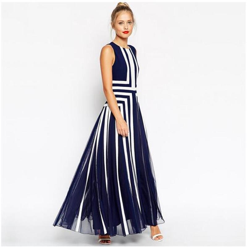 Plus Size 4xl Dresses 2016 Fashion Women Striped Summer Dress Bule White Long Maxi Dress Sexy Sleeveless Mesh Patchwork Chiffon(China (Mainland))