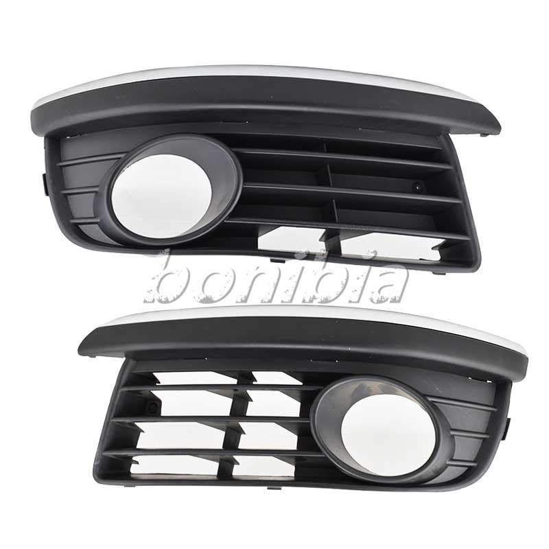 One Pair Front Lower Bumper Grille W/ Chrome Trim For VW 2005-2010 Jetta/Bora Mk5 V0186+V0187(China (Mainland))