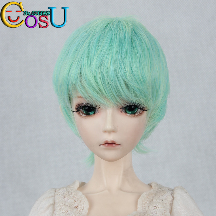 Attractive Design 1/3   Hair Dollfie Doll  BJD Wig Blue Green Color Mixture  Short Hair  High Quality Wig Free Shipping<br><br>Aliexpress