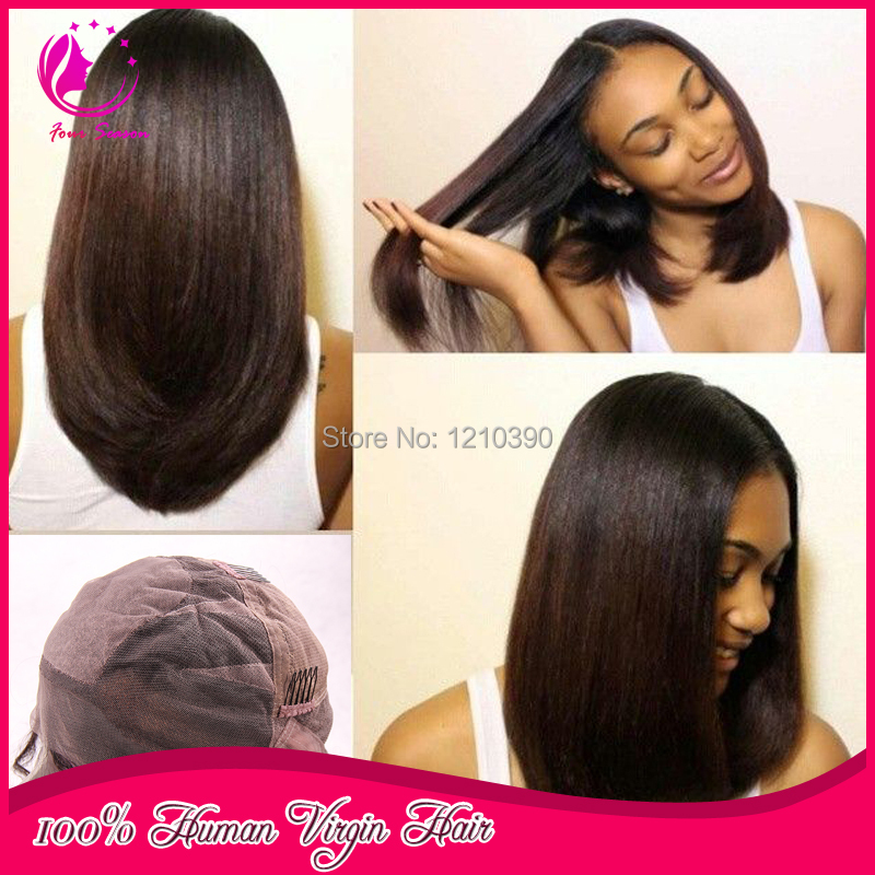 4x4 Silky Straight Silk Base Wigs Virgin Brazilian Human Hair Silk Top Glueless Full Lace Wigs with Baby hair Natural Hairline(China (Mainland))