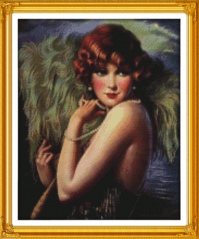 Fan Dance dancer cross stitch kit people 18ct 14ct 11ct count print canvas stitches embroidery DIY handmade needlework(China (Mainland))