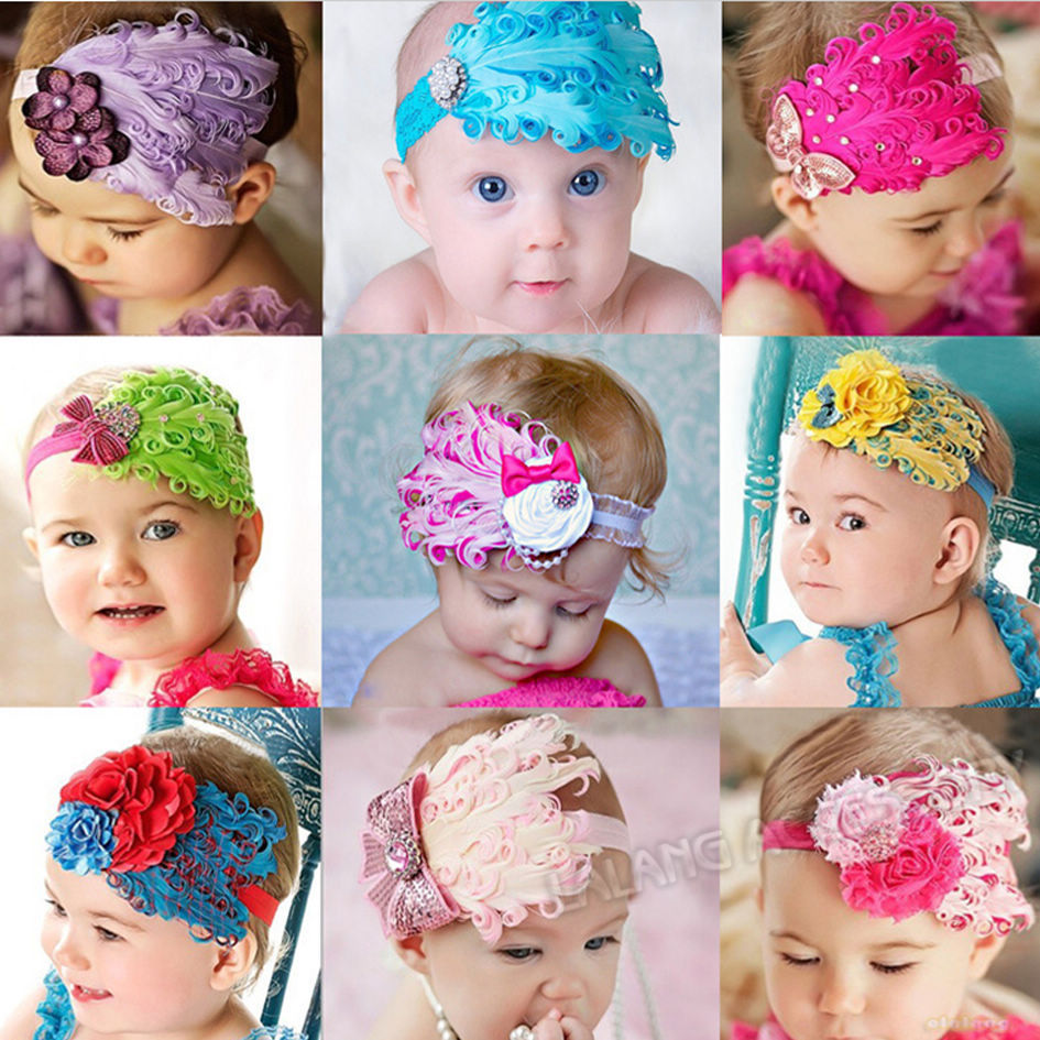 Free Shipping 1pc Girl Baby Hair Band Infant Toddler Peacock Feather Flower Headband Headwear 9Colors Available cx300015