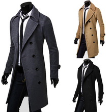 top sale Fit Mens Moderate Trench Winter Warm Long Jacket Double Breasted Suit Collar Overcoat fashion(China (Mainland))
