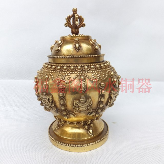 Home supplies copper tank decoration crafts Large eight copper pot decoration antique copper pot(China (Mainland))