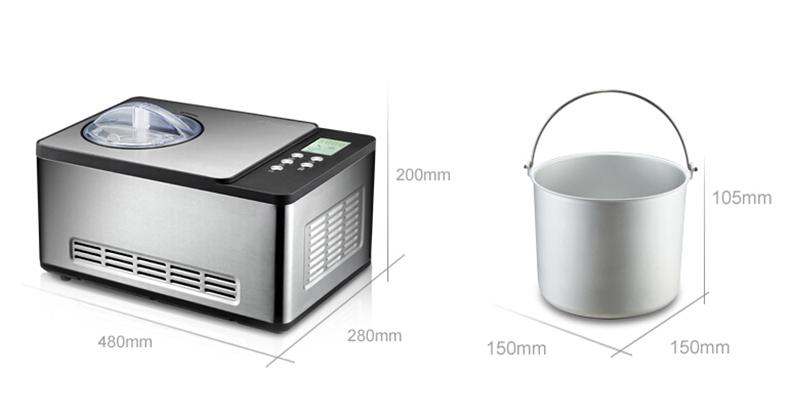 Xeoleo Ice cream maker Hoursehold Ice cream machine 1.5L 150W 220V Air cooling Stainless steel Children Mini Yogurt Ice cream