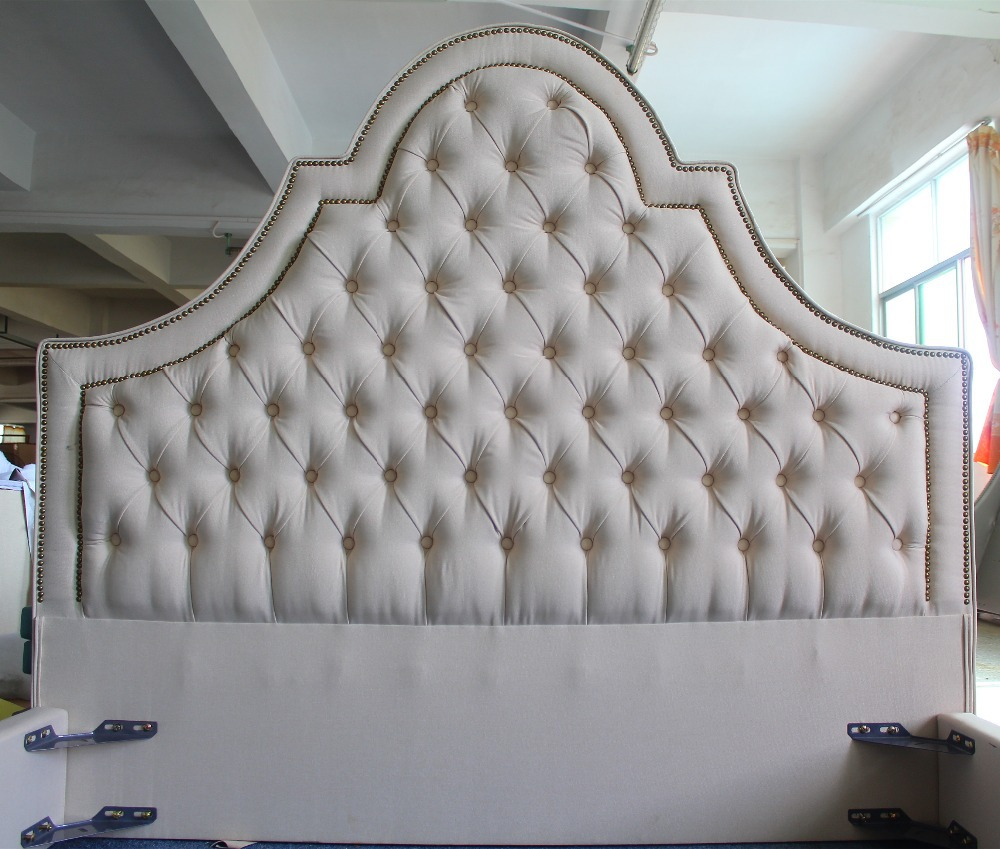 High Head Board Linen Fabric Bed Of West European Style
