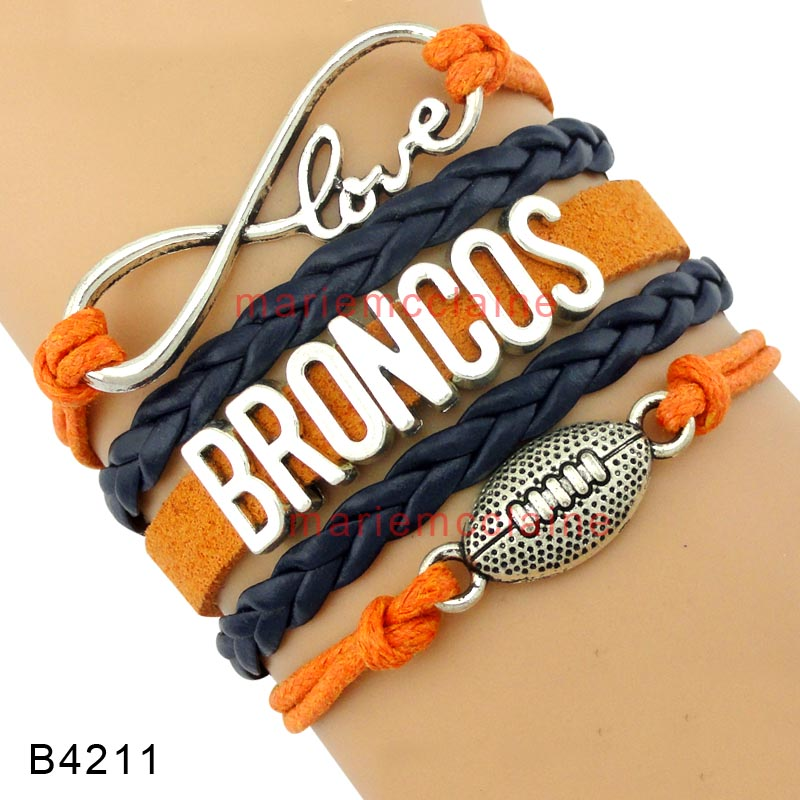 (30 PCS/lot) High Quality Infinity Love Denver Football Team Broncos Wrap Bracelets Navy Blue Orange Leather Cuff Sports Gift(China (Mainland))