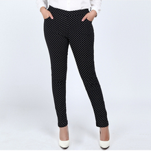 Fashion style dot print plus size 3XL-6XL women full length pants casual winter autumn trousers with pocket fat female wear(China (Mainland))