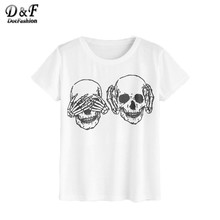 Buy Dotfashion Skull Print T-shirt Women White Short Sleeve Casual Brief Cute Summer Tops 2017 New Fashion O Neck Basic T-shirt for $7.98 in AliExpress store