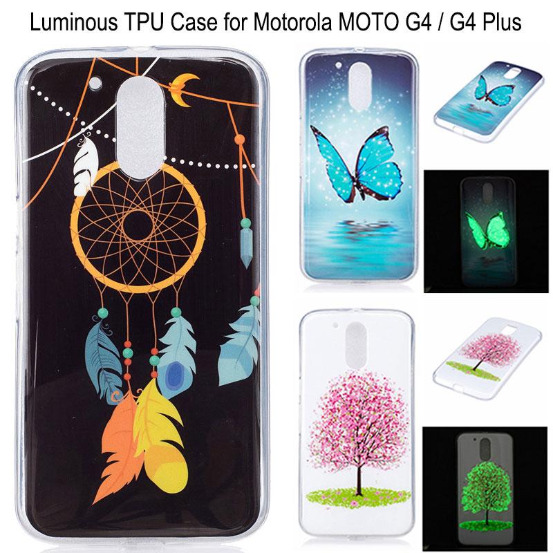 For MOTO G4 Case Luminous Transparent Edges Soft IMD TPU Back Cover Cases for Motorola MOTO G4 Plus Cell Phone Cases(China (Mainland))