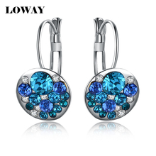 LOWAY Red Blue Crystals Hoops Earings Brinco Fine Jewelry Gold Plated Brand Design Earrings for Women ED2612(China (Mainland))