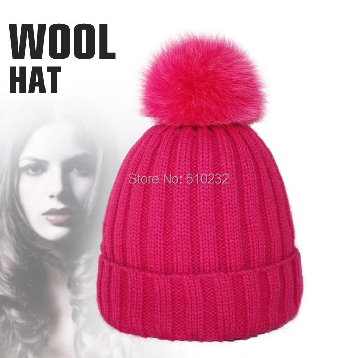 Apparel accessories autumn winter caps fox fur hats for women top 2015 snow fur ball hip hop warm thick for girls knit beanies(China (Mainland))