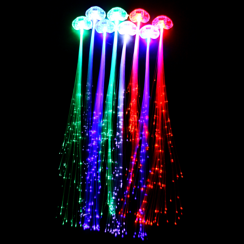 (10pcs/lot) Colorful Flash LED Braid, glow Hair Extension by optical fiber Novelty decoration party for halloween birthday(China (Mainland))