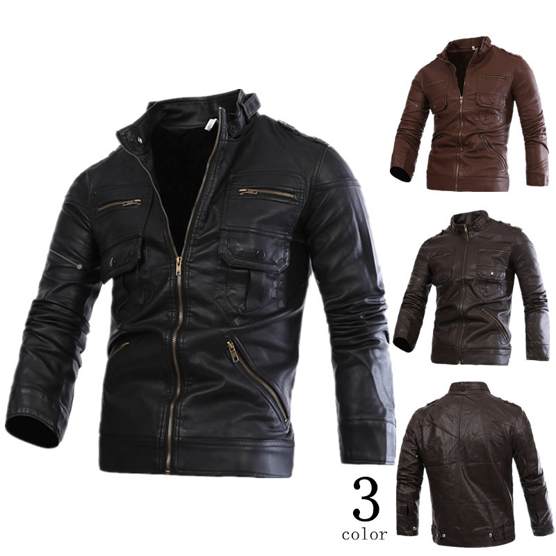 men leather short jacket Faux and genuine Leather winter trend zipper male stand collar motorcycle watered wash high qualityОдежда и ак�е��уары<br><br><br>Aliexpress