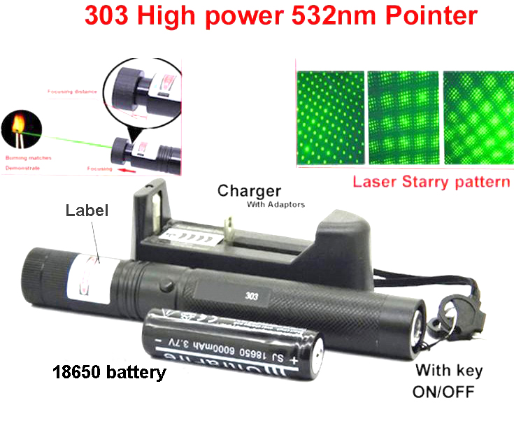 laser 303 light High power led light 532nm Pointer Burning Match Pointer Pen with Safe Key Green Red 3.7v 18650 battery charger(China (Mainland))