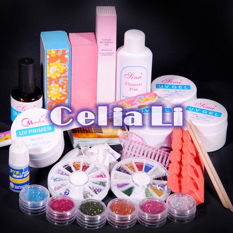 7 Days delivery USA Dispatch UV GEL Nail Kit Nail Polish Glitter Primer Gel block files brush Nail Form nail Art Tools set 004(China (Mainland))