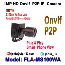 1280*720P 1.0MP Mini ip camera onvif 2.8-12mm manual varifoc zoom len p2p h.264 IR-Cut network web ip cam plug play with bracket(China (Mainland))