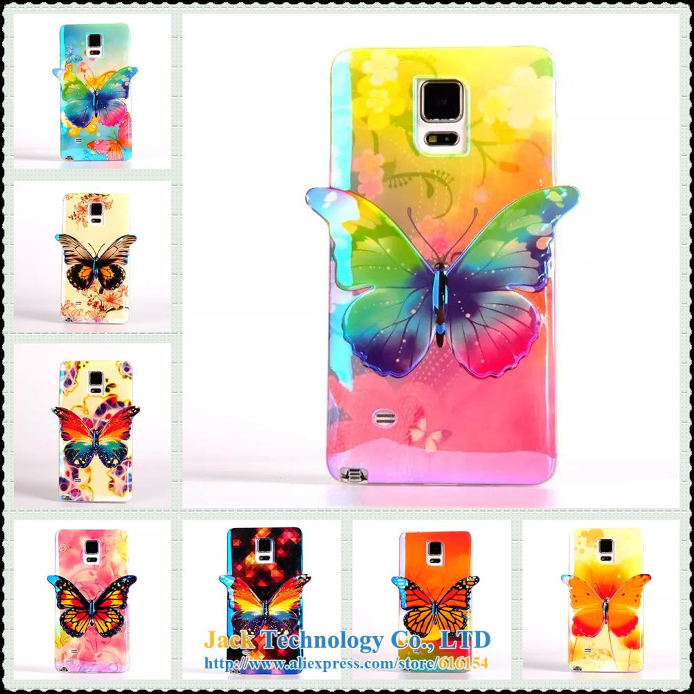 Samsung Galaxy Note 4 N9100 IV Colorful Bright Soft TPU Case Cover 3D Cute Butterfly Skin phone Bag Back - Shenzhen Jack Technology Co., LTD store