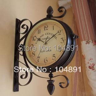 L047 free shipping double-faced wall hanging clocks. Iron wall clocks. modern art wall clock. home garden clocks 1pc/lot(China (Mainland))