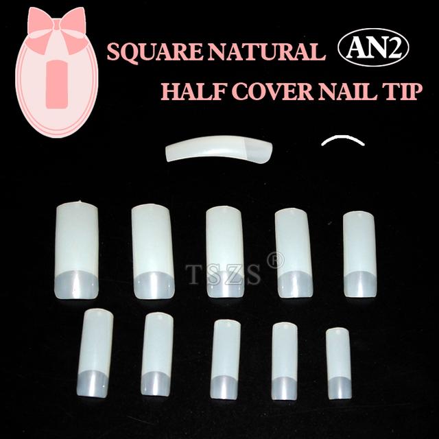 1bags/ lot -500pcs Natural Half Cover Fake Nail Art Tips