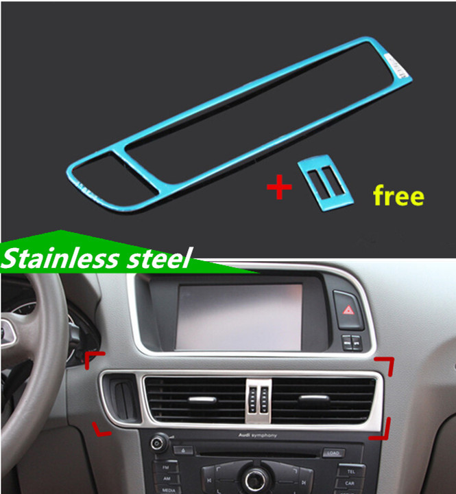 car styling console air conditioning vent cover trim strips stainless steel sequins interior air. Black Bedroom Furniture Sets. Home Design Ideas