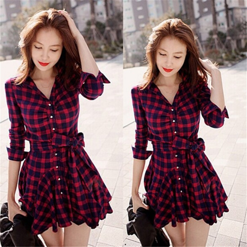 Women Mini Dress 2016 New Fashion Lapel Long Sleeve font b Tartan b font Plaids Checks