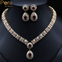 Classic Gold Plated Nigerian Wedding African Costume Statement Simulated CZ Diamond Jewelry Sets With Red Crystal Stone J060(China (Mainland))