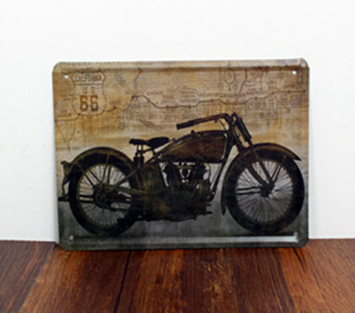 Inexpensive Vintage Bar Cafe Restaurant Home Decorative Painting Tin Sign 15*21 Minitary Motorcycle for Wall Decoration(China (Mainland))