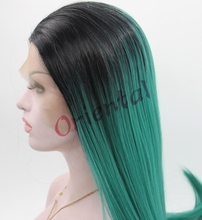 Free shipping cheap long sexy beauty heat resistant ombre black and green straight synthetic lace front wig
