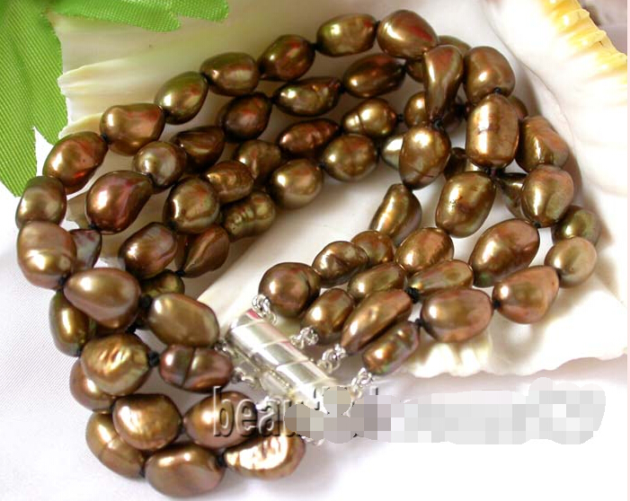 """FREE shipping$$$$z271 4strands 8"""" 10mm coffee baroque freshwater pearl bangle bracelet 6.05 (D0606)(China (Mainland))"""