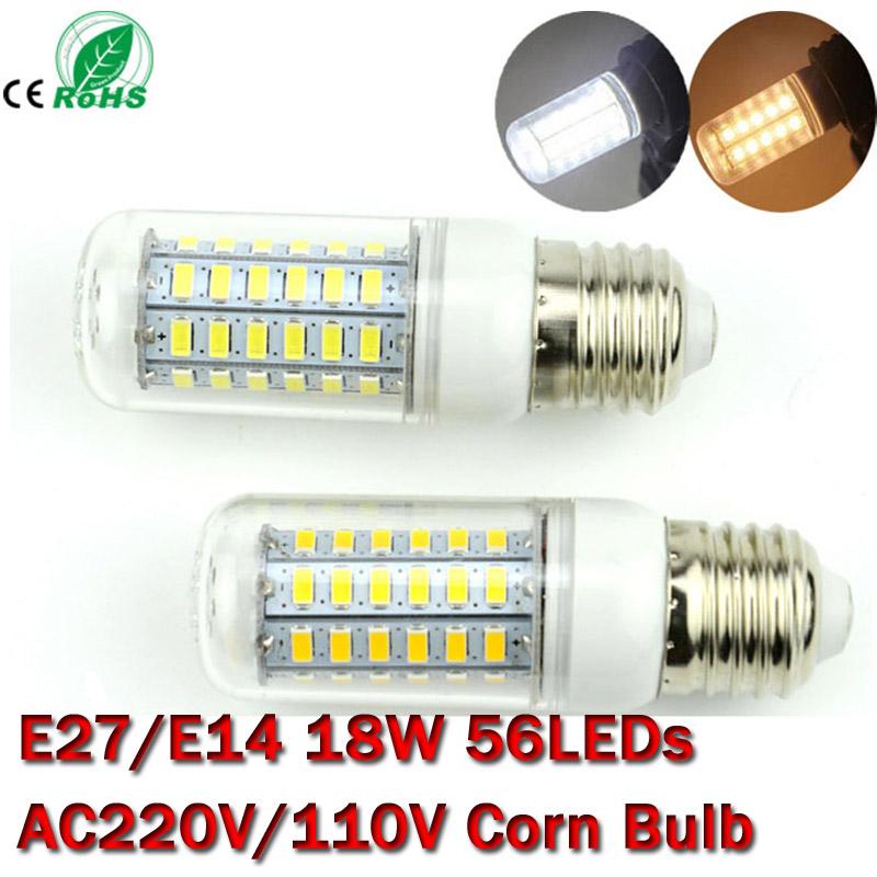 E27/E14 56LEDs SMD 5730 18W E27 LED lamp Bulb AC 110V 220V Ultra Bright 5730SMD LED Corn light Chandelier lighting Free Shipping(China (Mainland))