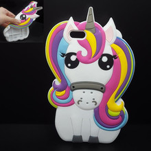 For iPhone 7 7Plus 6 6s Plus 5 5s 3D Rainbow Unicorn Case Horse Cute Cartoon Silicone Rubber Soft Cell Phone Cover Shell C311(United States)