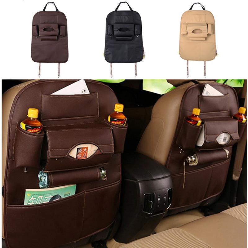 Auto Supplies Car Leather Seat Back Folding Storage Box Multi-Use Tools Organizer Car Portable Storage Bags Black Beige Brown(China (Mainland))