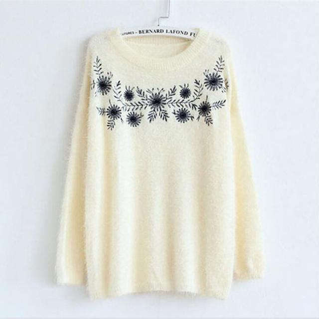 2015 новый урожай цветок вышивка вязаный свитер женская мода мохер пуловер о зима ...