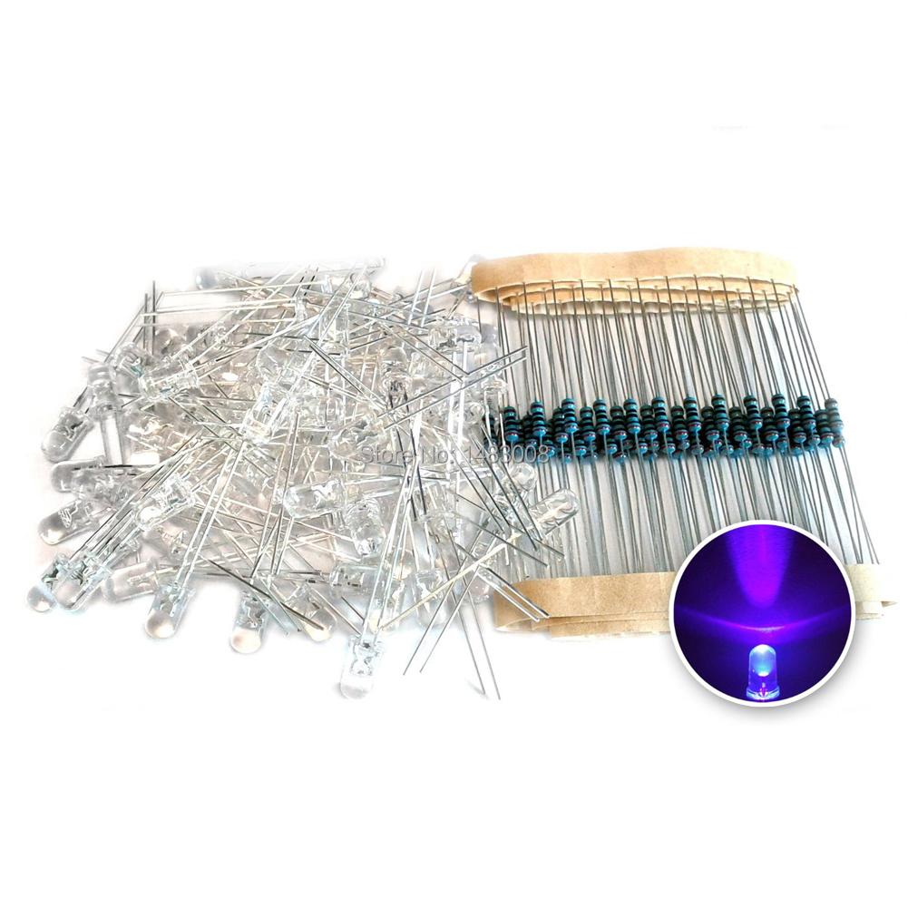 Гаджет  5mm LED Purple Light Diode + Electrical Resistance 100PCS in 1 Set High Quality None Электронные компоненты и материалы