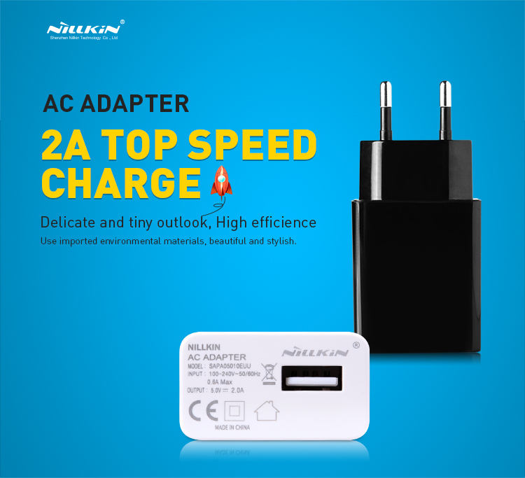 2A Top Speed Charger Original NILLKIN AC 2A EU Europe Standard USB Plug Power Wall Charger Adapter For Cell Phone USB Charger(China (Mainland))