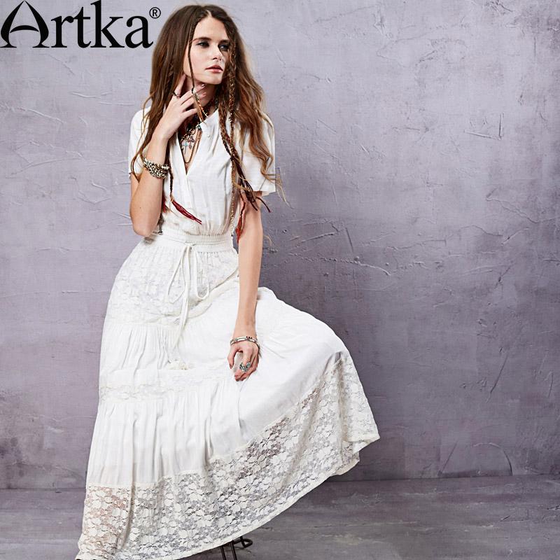 Artka Womens Ethnic Bohemian Dresses 2015 New Summer Cotton &amp; Lace Patchwork Design Retro Woman White Long Dresses LA14058CОдежда и ак�е��уары<br><br><br>Aliexpress