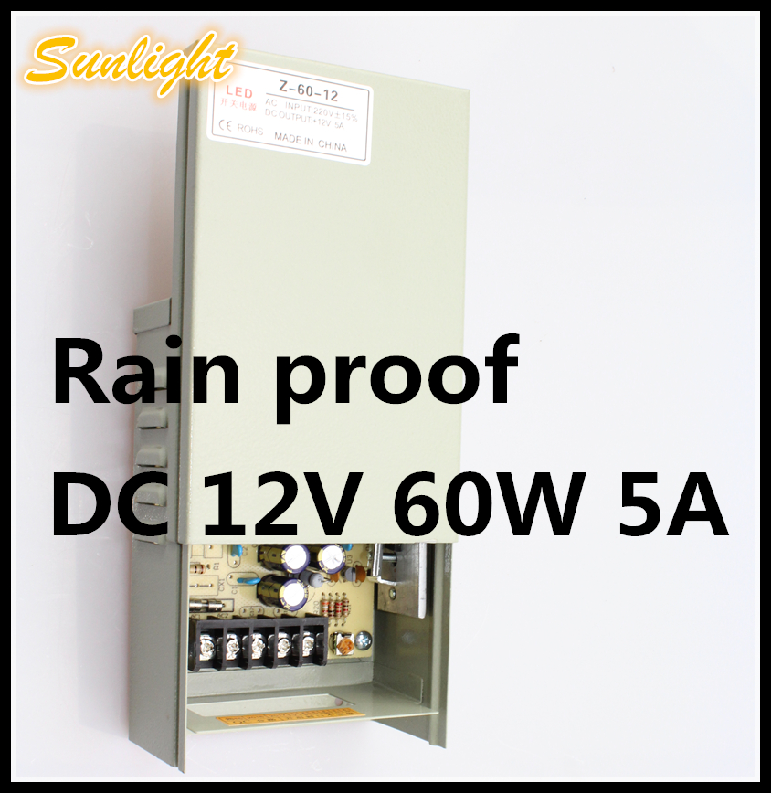 Anti rain driver Switching Power Supply DC12V 60W 5A Voltage stabilization high quality outdoor lighting transformer insulation(China (Mainland))