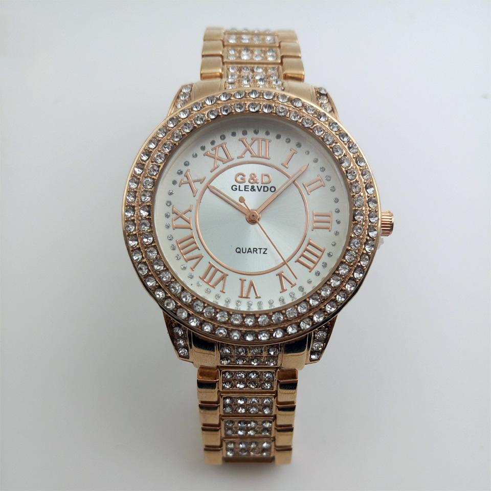 GLE&VDO Relogio Feminino Watch Brand Famous Luxury Gold Women's Apparel Qaurzt Full Diamond Watches Gift Box Free Ship(China (Mainland))