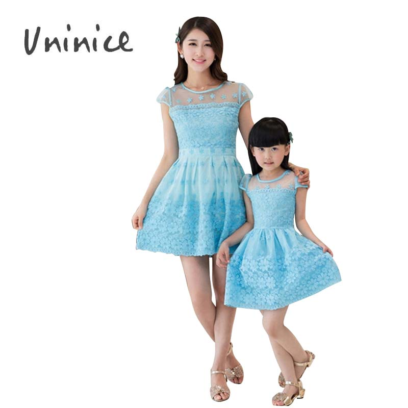 2016 mother and daughter lace dresses women girls vintage maxi floral dress matching mother and daughter clothes family look<br><br>Aliexpress