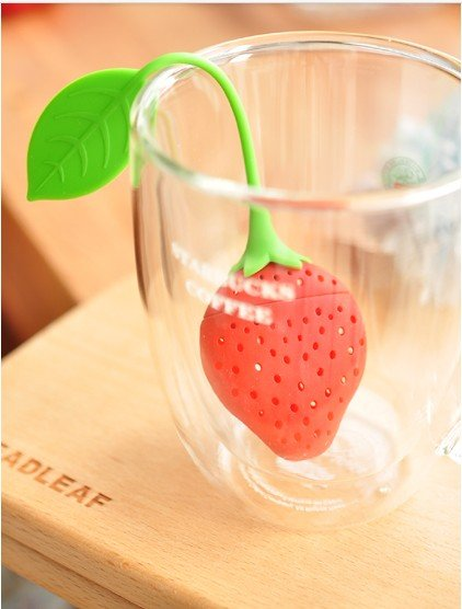 Free shipping wholesale Strawberry shape Tea making device tea bags set filter pot sets teaspoon Silicone