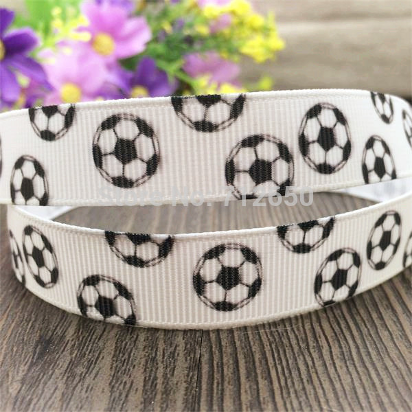 New Arrival 5/8'' (16mm) 10 yards white ribbon printed football Grosgrain ribbon DIY hairbow gift wrap accessories free shipping(China (Mainland))