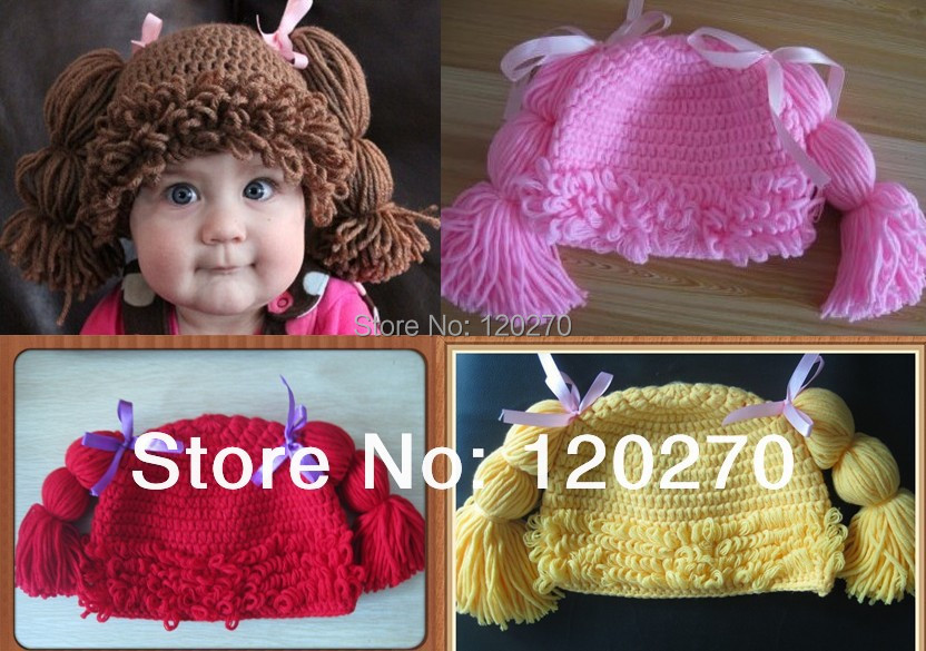 Free Shipping Handmade Crochet Baby Girls Cabbage Patch Wig Hat Infant Toddlers Beanie Headwear Children's Cap Photographic prop(China (Mainland))