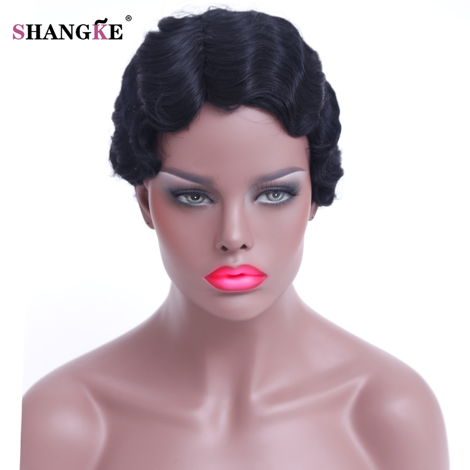 SHANGKE Hair Short Curly Synthetic Wigs For Black Women Short Black African American Wigs Women Heat Resistant Synthetic Hair(China (Mainland))
