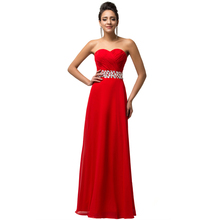 Women Sleeveless Long Chiffon Evening Dress 2017 New Arrival Formal Dresses Red Royal Blue Robes De Soiree Rhinestone Gown 7568(China (Mainland))